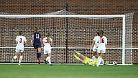 CHAPEL HILL, NC - NOVEMBER 29: Emily Fox #11 of the University of North Carolina scores the game's first goal past Kaylie Collins #1 of the University of Southern California during a game between University of Southern California and University of North Carolina at UNC Soccer and Lacrosse Stadium on November 29, 2019 in Chapel Hill, North Carolina.