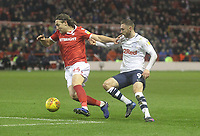 Preston North End's Louis Moult battles with  Nottingham Forest's Michael Hefele<br /> <br /> Photographer Mick Walker/CameraSport<br /> <br /> The EFL Sky Bet Championship - Nottingham Forest v Preston North End - Saturday 8th December 2018 - The City Ground - Nottingham<br /> <br /> World Copyright © 2018 CameraSport. All rights reserved. 43 Linden Ave. Countesthorpe. Leicester. England. LE8 5PG - Tel: +44 (0) 116 277 4147 - admin@camerasport.com - www.camerasport.com