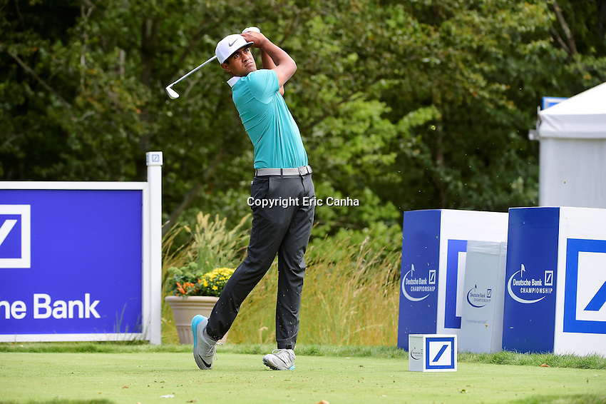 Monday, September 5, 2016:  Tony Finau watches the flight of his ball down the 17th fairway during the final round of the Deutsche Bank Championship tournament held at the Tournament Players Club, in Norton, Massachusetts.  Rory McIlroy of Northern Ireland wins the Deutsche Bank Championship with a final tournament score of -15 269.   Eric Canha/Cal Sport Media
