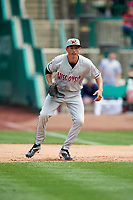 Wisconsin Timber Rattlers first baseman Ryan Aguilar (21) during a game against the Fort Wayne TinCaps on May 10, 2017 at Parkview Field in Fort Wayne, Indiana.  Fort Wayne defeated Wisconsin 3-2.  (Mike Janes/Four Seam Images)