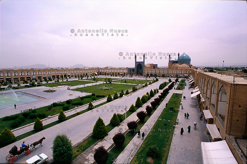 The Naqsh-e Jahan Square now called Imam Square in Isfahan, Iran May 4,  2007. This is the second largest square in the world and designed by Unesco as a universal heritage site.
