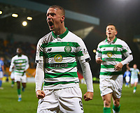 29th January 2020; McDairmid Park, Perth, Perth and Kinross, Scotland; Scottish Premiership Football, St Johnstone versus Celtic; Leigh Griffiths of Celtic roars in delight to celebrate putting Celtic 3-0 up in the 26th minute