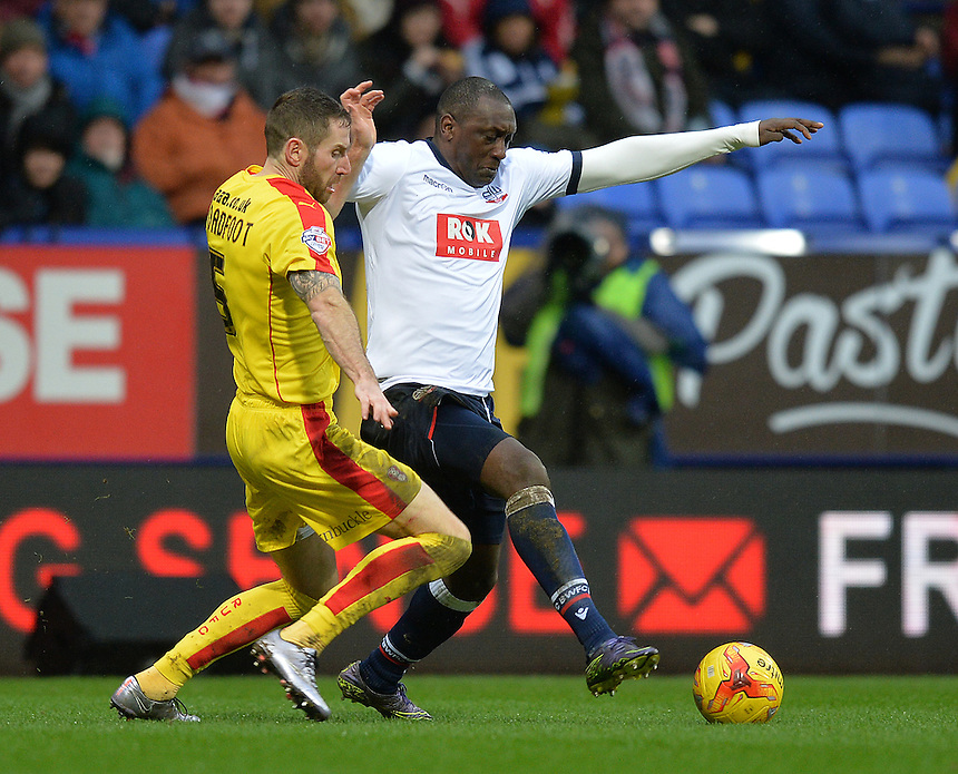 Bolton Wanderers' Emile Heskey battles with Rotherham United's Kirk Broadfoot<br /> <br /> Photographer Dave Howarth/CameraSport<br /> <br /> Football - The Football League Sky Bet Championship - Bolton Wanderers v Rotherham United - Saturday 6th February 2016 - Macron Stadium - Bolton <br /> <br /> &copy; CameraSport - 43 Linden Ave. Countesthorpe. Leicester. England. LE8 5PG - Tel: +44 (0) 116 277 4147 - admin@camerasport.com - www.camerasport.com
