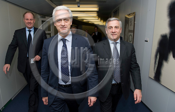 Brussels-Belgium - December 16, 2009 -- Antonio TAJANI (ri), Vice-President of the European Commission and in charge of Transport, receives Dr. Peter RAMSAUER (le), Federal Minister for Transport, Building and Urban Development of Germany -- Photo: Horst Wagner / eup-images