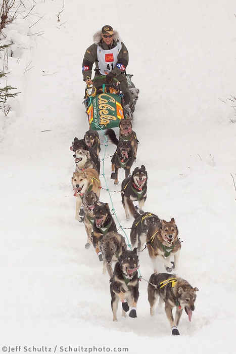 Musher # 41 Jeff King at the Restart of the 2009 Iditarod in Willow Alaska.