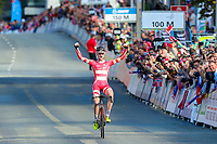 Picture by Alex Whitehead/SWpix.com - 23/09/2017 - Cycling - 2017 UCI Road World Championships, Day 7 - Bergen, Norway - Denmark's Julius Johansen wins the Junior Men's Race.