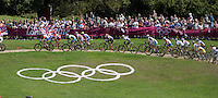 11.08.2012. Hadleigh Woods, Essex, England.  Participants compete during the Women's Cross-country Final of the Cycling Mountain Bike event in Hadleigh Farm at the London 2012 Olympic Games, London, Great Britain, 11 August 2012.