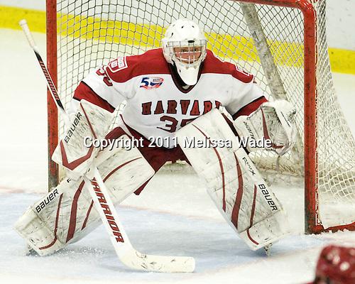 Ryan Carroll (Harvard - 35) - The visiting Cornell University Big Red defeated the Harvard University Crimson 2-1 on Saturday, January 29, 2011, at Bright Hockey Center in Cambridge, Massachusetts.