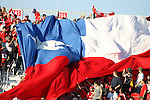 01 July 2007: Chile fans unfurl a giant flag. At the National Soccer Stadium, also known as BMO Field, in Toronto, Ontario, Canada. Chile's Under-20 Men's National Team defeated Canada's Under-20 Men's National Team 3-0 in a Group A opening round match during the FIFA U-20 World Cup Canada 2007 tournament.