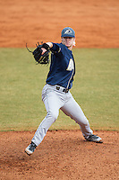 Akron Zips relief pitcher Josh Lapiana (33) in action against the Charlotte 49ers at Hayes Stadium on February 22, 2015 in Charlotte, North Carolina.  The Zips defeated the 49ers 5-4.  (Brian Westerholt/Four Seam Images)