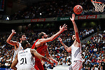 Real Madrid´s Darden, Llull and Bourousis and CAI Zaragoza´s Sanikidze (C) during 2013-14 Liga Endesa basketball match at Palacio de los Deportes stadium in Madrid, Spain. May 30, 2014. (ALTERPHOTOS/Victor Blanco)