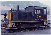 Davenport Locomotive Works diesel engine #50 in Durango yard.<br /> D&amp;RGW  Durango, CO