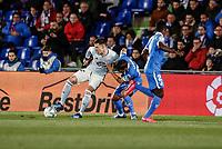 7th March 2020; Coliseum Alfonso Perez, Madrid, Spain; La Liga Football, Club Getafe Club de Futbol versus Celta Vigo; Nemanja Maksimovic (Getafe CF) challenges Santi Mina (Celta de Vigo)