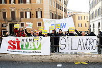 Rome February 21st 2019. Montecitorio. Demonstration YES TAV (TAV is special-purpose entity owned by RFI (itself owned by Ferrovie dello Stato) for the planning and construction of a high-speed rail network in Italy).<br /> Foto Samantha Zucchi Insidefoto