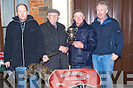 "CHAMPION: Champion Dog ""Apple Ink"" with his owner Derek Roger being presented with the Tommy Sheehy Memorial Cup at Ballybeggan racecourse on Thursday, also in pic were Fintan Rogers and Neily Jones..   Copyright Kerry's Eye 2008"