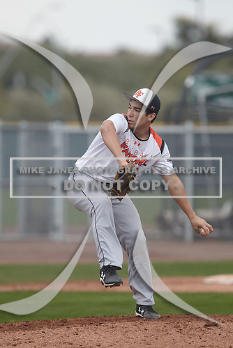 Joshua Fernandez (7) of Hondo High School in Hondo, Texas during the Under Armour All-American Pre-Season Tournament presented by Baseball Factory on January 15, 2017 at Sloan Park in Mesa, Arizona.  (Kevin C. Cox/Mike Janes Photography)