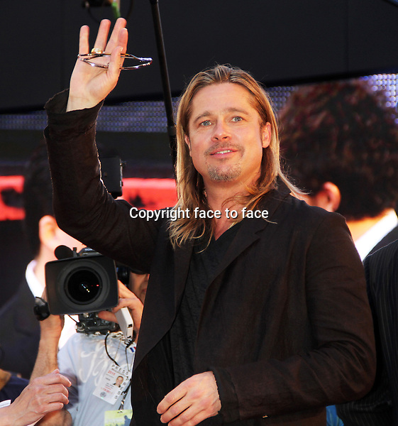 NEW YORK, NY - JUNE 17: Brad Pitt at the 'World War Z' New York Premiere at Duffy Square in Times Square on June 17, 2013 in New York City.<br />