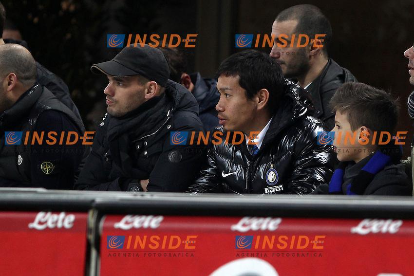 "Wesley Sneijder Yuto Nagatomo Inter.Milano 12/01/2013 Stadio ""S.Siro"".Football Calcio Serie A 2012/13.Inter v Pescara.Foto Insidefoto Paolo Nucci."