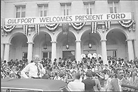 President Gerald Ford greets well-wishers during a campaign stop in Gulfport, Mississippi.  26 September 197