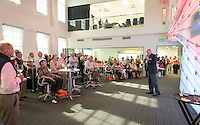 Guests attend the Leadership Giving High Tech Happy Hour in the McKinnon Center for Global Affairs on Saturday, June 13, 2015, part of Occidental College's annual Alumni Reunion. <br /> (Photo by Marc Campos, Occidental College Photographer)