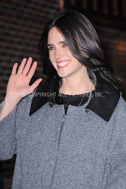 WWW.ACEPIXS.COM . . . . . .January 5, 2011...New York City...Jennifer Connelly tapes the Late Show with David Letterman on January 5, 2011 in New York City....Please byline: KRISTIN CALLAHAN - ACEPIXS.COM.. . . . . . ..Ace Pictures, Inc: ..tel: (212) 243 8787 or (646) 769 0430..e-mail: info@acepixs.com..web: http://www.acepixs.com .