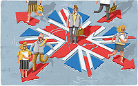 Businesspeople escaping from breaking up sinking union jack flag