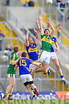 Anthony Maher, Kerry in action against George Hennigan, Tipperary and Ian Fahey, Tipperary in the first round of the Munster Football Championship at Fitzgerald Stadium on Sunday.