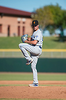 Surprise Saguaros relief pitcher Walker Sheller (49), of the Kansas City Royals organization, delivers a pitch during an Arizona Fall League game against the Scottsdale Scorpions at Scottsdale Stadium on October 26, 2018 in Scottsdale, Arizona. Surprise defeated Scottsdale 3-1. (Zachary Lucy/Four Seam Images)