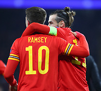 19th November 2019; Cardiff City Stadium, Cardiff, Glamorgan, Wales; European Championships 2020 Qualifiers, Wales versus Hungary; Aaron Ramsey and Gareth Bale of Wales celebrate after Wales go 2-0 up in the 47th minute - Editorial Use