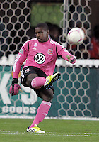 WASHINGTON, DC - OCTOBER 20, 2012:  Bill Hamid (28) of D.C United boots the ball up field against the Columbus Crew during an MLS match at RFK Stadium in Washington D.C. on October 20. D.C United won 3-2.