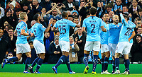 Manchester City's David Silva celebrates scoring his side's first goal with teammates<br /> <br /> Photographer Alex Dodd/CameraSport<br /> <br /> UEFA Champions League Group F - Manchester City v Shakhtar Donetsk - Wednesday 7th November 2018 - City of Manchester Stadium - Manchester<br />  <br /> World Copyright © 2018 CameraSport. All rights reserved. 43 Linden Ave. Countesthorpe. Leicester. England. LE8 5PG - Tel: +44 (0) 116 277 4147 - admin@camerasport.com - www.camerasport.com