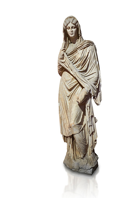 Roman statue of young Faustina. Marble. Perge. 2nd century AD. Inv no 3045 . Antalya Archaeology Museum; Turkey. Against a white background.