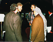 Palestinian Authority Chairman Yasser Arafat and United States President Bill Clinton during the Washington Summit at Wye River on Thursday, October 22, 1998.  From left to right: Gamal Helal, The Interpreter; President Clinton; Ambassador Dennis Ross; Chairman Arafat..Mandatory Credit: White House via CNP