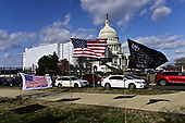 Protest flags on the east side of the United States Capitol as the US House debates two articles of impeachment against US President Donald J, President in Washington, DC on Wednesday, December 18, 2019.<br /> Credit: Ron Sachs/ CNP<br /> (RESTRICTION: NO New York or New Jersey Newspapers or newspapers within a 75 mile radius of New York City)