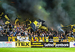 Solna 2014-08-13 Fotboll Allsvenskan AIK - Djurg&aring;rdens IF :  <br /> AIK:s supportrar med flaggor och r&ouml;k<br /> (Foto: Kenta J&ouml;nsson) Nyckelord:  AIK Gnaget Friends Arena Allsvenskan Derby Djurg&aring;rden DIF supporter fans publik supporters