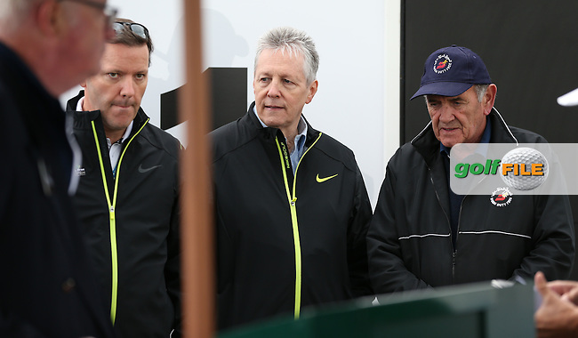 Everybody delighted to see the Forst Minister Peter Robinson arrive on the first tee for Round Three of the 2015 Dubai Duty Free Irish Open Hosted by The Rory Foundation at Royal County Down Golf Club, Newcastle County Down, Northern Ireland. 30/05/2015. Picture David Lloyd | www.golffile.ie