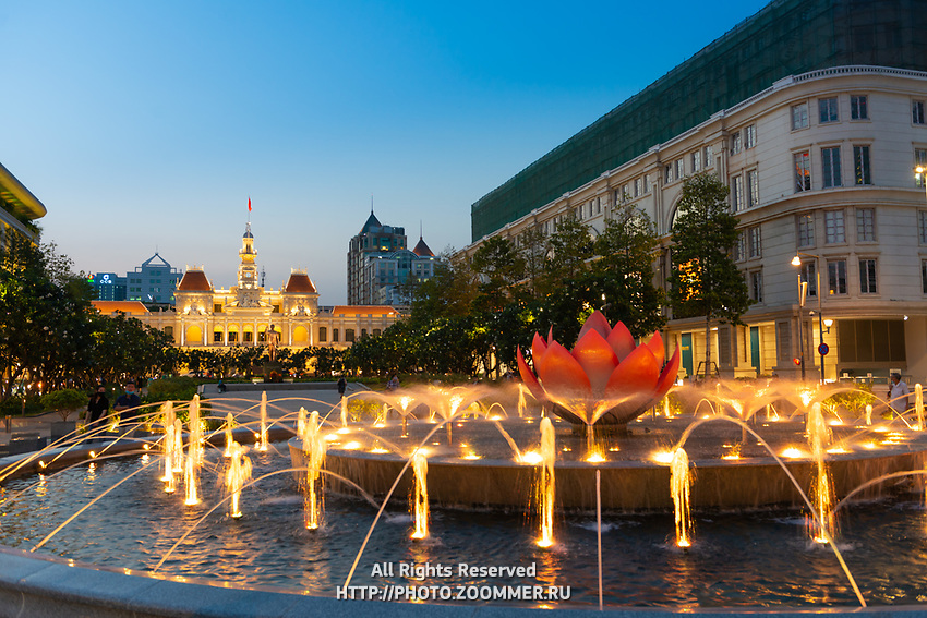 Fountain And Square Near Ho Chi Minh City Hall, Vietnam