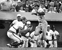 Oakland A's vs New York Mets 1973 World Series game 2,A's catcher  Ray Fosse, ready to tag out Bud Harrelson out at home plate. (photo by Ron Riesterer)