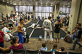 USA, Oahu, Hawaii, Jujitsu Martial Arts fighters grapple at the ICON grappling tournament in Honolulu