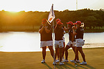 STILLWATER, OK -  The Arizona Women's Golf team reacts to winning the Division I Women's Golf Team Match Play Championship held at the Karsten Creek Golf Club on May 23, 2018 in Stillwater, Oklahoma. (Photo by Shane Bevel/NCAA Photos via Getty Images)