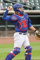 Iowa Cubs catcher Taylor Davis (19) between innings during a Pacific Coast League game against the Colorado Springs Sky Sox on May 10th, 2015 at Principal Park in Des Moines, Iowa.  Iowa defeated Colorado Springs 14-2.  (Brad Krause/Four Seam Images)