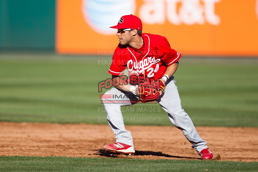 James Vazquez (24) of the Southern Illinois University- Edwardsville Cougars fields a ground ball to second base during a game against the Missouri State Bears at Hammons Field on March 9, 2012 in Springfield, Missouri. (David Welker / Four Seam Images)