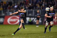 Rhys Priestland of Bath Rugby kicks for the posts. Heineken Champions Cup match, between Bath Rugby and Wasps on January 12, 2019 at the Recreation Ground in Bath, England. Photo by: Patrick Khachfe / Onside Images