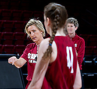 Stanford, CA., March 25, 2013,-- Kate Paye assistant coach for the Stanford Women's basketball and Bonnie Samuelson, during team practice for there second round NCAA 2013 basketball championship game against Michigan on Monday, March 25, 2013, at Maples Pavilion.  ( Norbert von der Groeben )