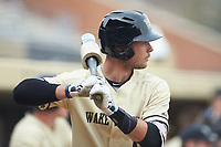Bruce Steel (17) of the Wake Forest Demon Deacons waits for his turn to bat during the game against the Notre Dame Fighting Irish at David F. Couch Ballpark on March 10, 2019 in  Winston-Salem, North Carolina. The Demon Deacons defeated the Fighting Irish 7-4 in game one of a double-header.  (Brian Westerholt/Four Seam Images)