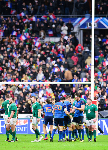 13.02.2016. Stade de France, Paris, France. 6 Nations Rugby international. France versus Ireland.  Players congratulate each other for the game