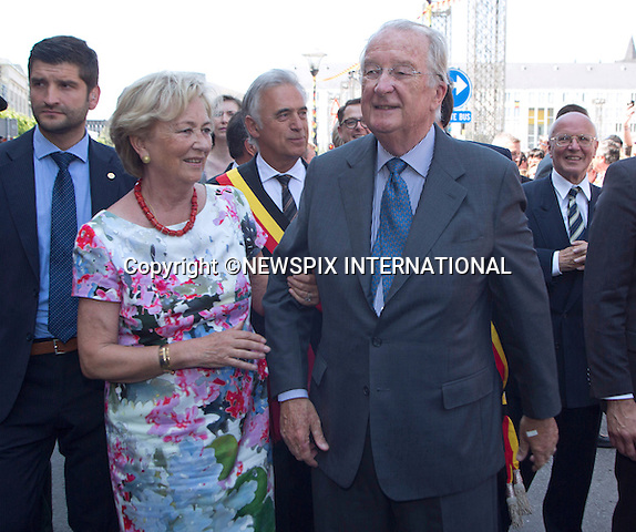 KING ALLBERT II AND QUEEN PAOLA<br /> during their last Royal public official appearance visit, in the city of Liege, on Friday July 19, 2013. <br /> King Albert II abdicates on July 21, Belgium's National Day.<br /> Mandatory Credit Photos:&copy;NEWSPIX INTERNATIONAL<br /> <br /> **ALL FEES PAYABLE TO: &quot;NEWSPIX INTERNATIONAL&quot;**<br /> <br /> PHOTO CREDIT MANDATORY!!: NEWSPIX INTERNATIONAL(Failure to credit will incur a surcharge of 100% of reproduction fees)<br /> <br /> IMMEDIATE CONFIRMATION OF USAGE REQUIRED:<br /> Newspix International, 31 Chinnery Hill, Bishop's Stortford, ENGLAND CM23 3PS<br /> Tel:+441279 324672  ; Fax: +441279656877<br /> Mobile:  0777568 1153<br /> e-mail: info@newspixinternational.co.uk