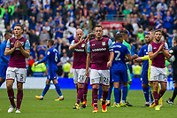 John Terry of Aston Villa and his players go to clap the travelling fans after the Sky Bet Championship match between Cardiff City and Aston Villa at the Cardiff City Stadium, Cardiff, Wales on 12 August 2017. Photo by Mark  Hawkins / PRiME Media Images.