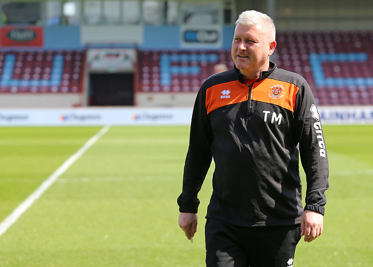 Blackpool's Manager Terry McPhillips checks out the surroundings at Glanford Park<br /> <br /> Photographer David Shipman/CameraSport<br /> <br /> The EFL Sky Bet League One - Scunthorpe United v Blackpool - Friday 19th April 2019 - Glanford Park - Scunthorpe<br /> <br /> World Copyright © 2019 CameraSport. All rights reserved. 43 Linden Ave. Countesthorpe. Leicester. England. LE8 5PG - Tel: +44 (0) 116 277 4147 - admin@camerasport.com - www.camerasport.com