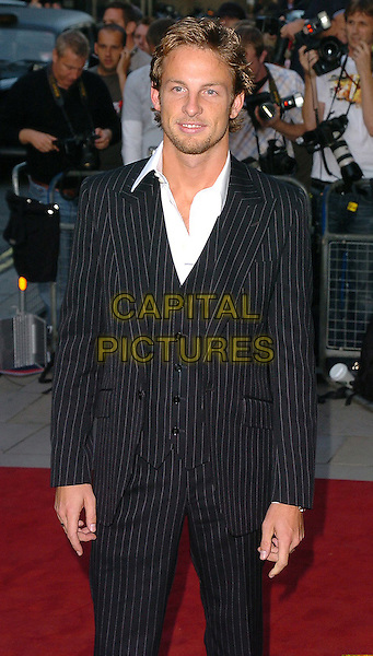 JENSON BUTTONS.The 8th Anual GQ Men of The Year Awards,.The Royal Opera House,.London, 6th September 2005.half length black pinstripe suit white shirt.www.capitalpictures.com.sales@capitalpictures.com.©Capital Pictures